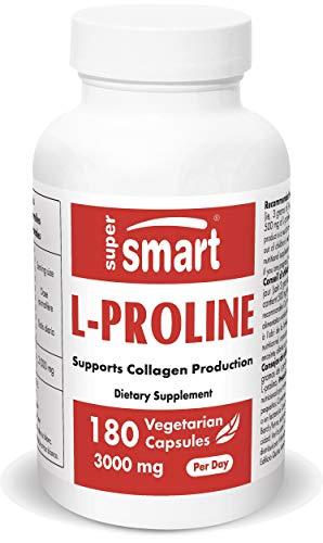 Supersmart - L-Proline 500 mg - Integratore di Ammino-acidi - Sostiene la Produzione di Collagene & la Salute della Pelle | No-OGM - 180 Capsule Vegetariane