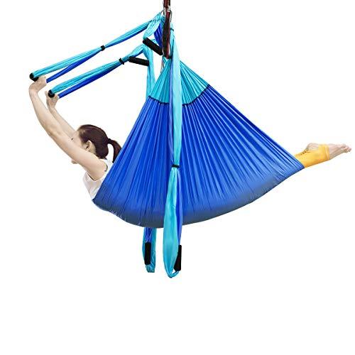 DREAMADE Yoga-Hängematte, Yoga-Set Hängend, Aerial Yoga Swing, Yoga Swing Hammock Schwingen bis zu 270 kg Belastbar (Blau)