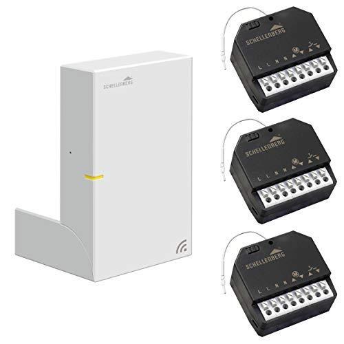 Schellenberg Smart Home Zentrale SH1 inklusive 3x Funk-Empfangsmodul Unterputz-Montage | Rollladen automatisieren, Funk-Steuerung nachrüsten