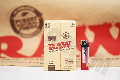 Bundle - 2 Items - Full Box 15 Packs (50 Leaves 50 Tips Per Pack) Of AUTHENTIC Raw Rolling Paper Artesano 1 1/4 And Patriot Lighter