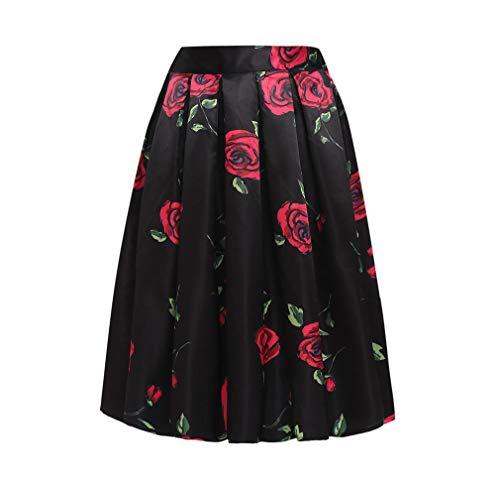 SXX dames zomerrok van polyester, stretch rok, gevouwen voor het strand, bedrukt met bloemenpatroon