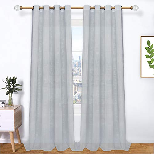 Grey Sheer Voile Curtains, Gray Semi-Sheer Curtain Panels, Solid Color Window Drapes with Grommets for Bedroom Living Room Decor Window Treatment, Set of 2 Panels, 52 x 96 Inch