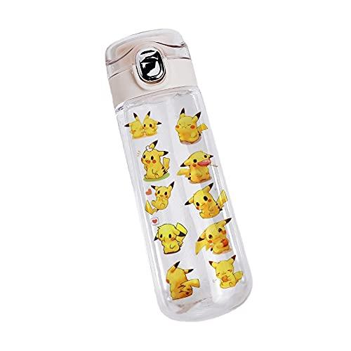 QQWA Taza de agua para niños, Pokemon Pikachu Fashion Brand Cup, botellas de agua de plástico, dibujos animados para bebés Ncreative Student Kettle Botellas de agua (dos estilos están disponib