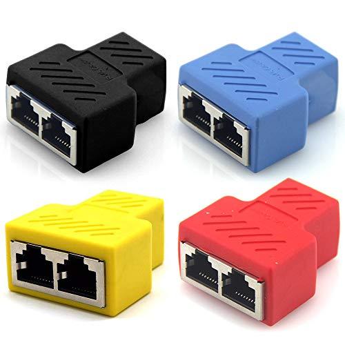 AODOOR Adaptador divisor RJ45 hembra RJ45, adaptador divisor de 1 a 2 puertos dobles hembra, extensión de cable de red para ordenador, 4 unidades, negro, rojo, azul, amarillo