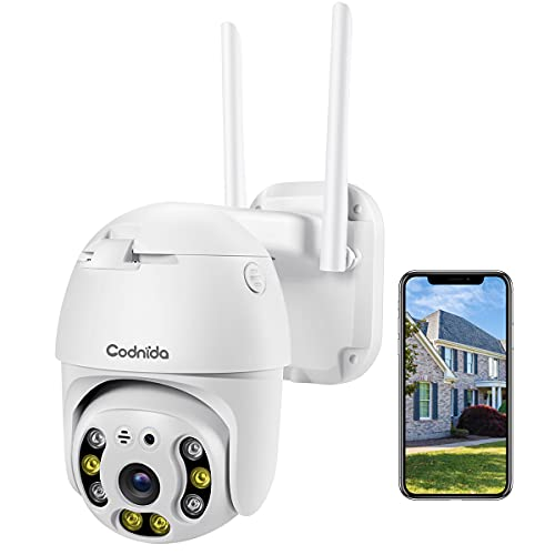 Security Camera Outdoor, Codnida Pan Tilt Wireless WiFi Home Security Camera, 1080P PTZ Dome Surveillance WiFi Camera with Motion Detection, 2-Way Audio, Color Night Vision, Weatherproof