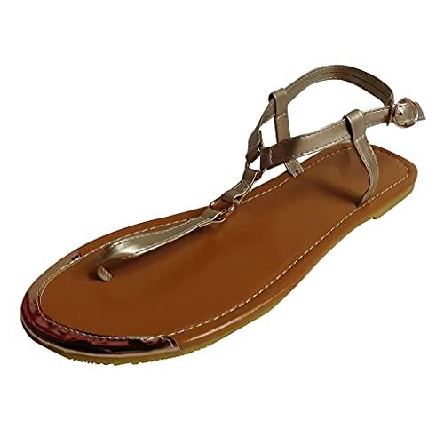 Sandalias planas para mujer, de verano, estilo vintage, con estrás, para el tiempo libre, con tacón plano, antideslizantes, cómodas, con hebilla, estilo medieval, elegante, brillantes