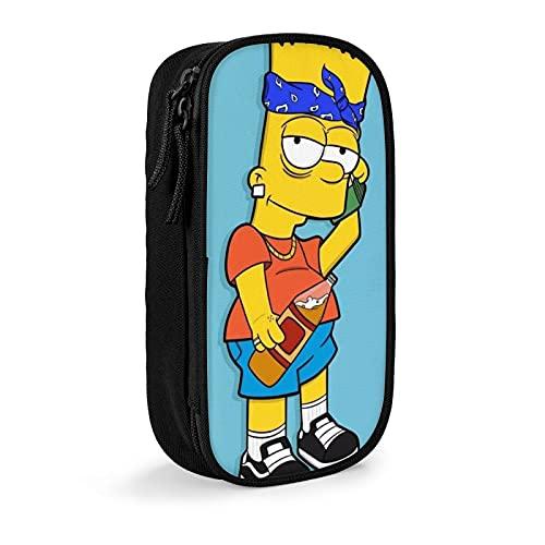 Simpsons Pencase - Caja de gran capacidad para bolígrafos con cremallera para marcadores escolares, organizador de escritorio, gran almacenamiento de suministros de oficina