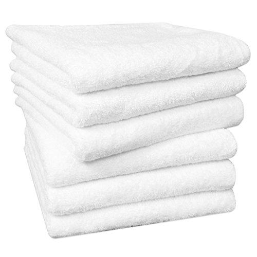 ZOLLNER 6er Set Handtücher, 100% Baumwolle, 50x100 cm, 520g/qm, ÖkoTex, weiß