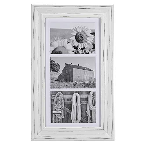 Malden International Designs Whitman White Wash Matted 3 Opening Collage Wood Picture Frame, 5 by 7-Inch