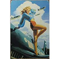 【ブリキ看板】Pin-up Girl/ピンナップガール P-47戦闘機 [並行輸入品]