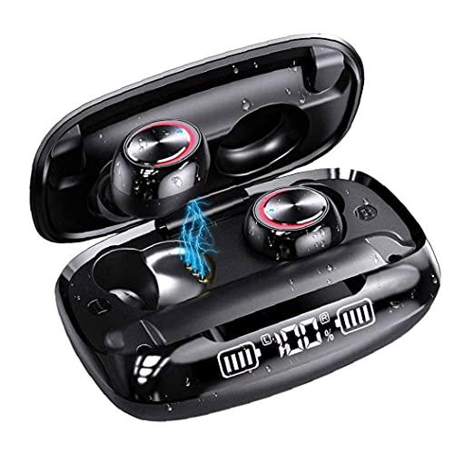 FeelMeet Auriculares Bluetooth inalámbrico de Auriculares 5.0 en la Oreja con la Caja de Carga inalámbrica Digital Display IPX7 Auriculares Impermeables