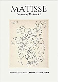 Henri Matisse Affiche Vintage Ligne abstraite Fleur Feuilles Art Mural Salon Maison Matisse Décor peinture murale Henri Ma...