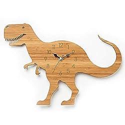 Mubolin Dinosaur Wall Clock Children's Bedroom Wooden Wall Clock for Kids Room Dinosaur 3D Stickers Tyrannosaurus Clocks