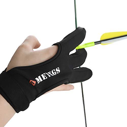 SHARROW Traditioneller Bogenschießen Schießhandschuh 3 Finger Handschuh Handschutz Fingerschutz Bogenhandschuh Schutzausrüstung für Bogensport Jagd (M)