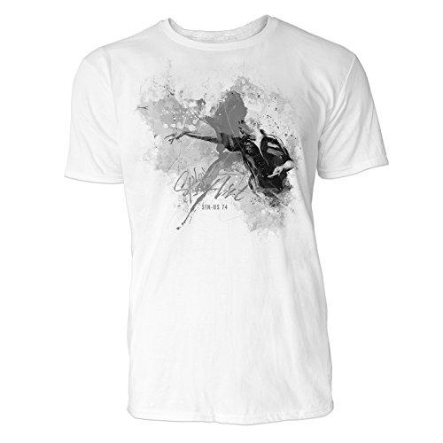 Dartwurf dunkel Sinus Art ® Herren T Shirt (Schwarz Weiss) Sportshirt Baumwolle
