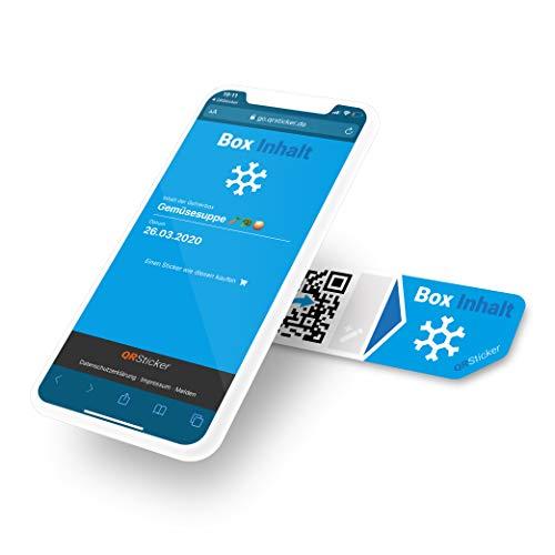 QR Code Aufkleber Aufkleber für Inhalte von Frischhaltedosen, Tupperware, Kühlschränke, Inhalt und Verfallsdatum per Smartphone App speichern und abrufen, per QR-Code, Smart Home (XS, 16 Sticker)