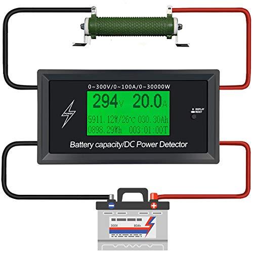 dix 0A 300V DC Meilleur compteur d' énergie Surveillance d' énergie 8 en 1 Tension de mesure+ Courant+ POWER+ Capacité de la batterie + impédance+ Température+ Energy+ Time+ Sonde de température étan