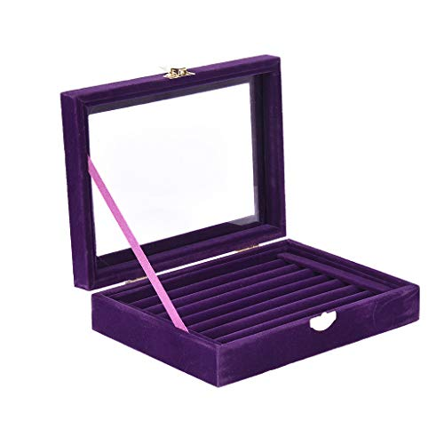 Jentouzz Fashion Velvet 72 Slot Ring Box Womens Jewelry Rings Display Case Box Jewelry Storage with Clear Cover Purple Ring Trays