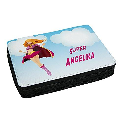Schul-Mäppchen mit Namen Angelika und schönem Superhelden-Motiv für Mädchen inkl. Stifte, Lineal, Radierer, Spitzer