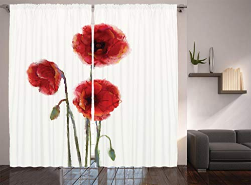 Ambesonne Watercolor Flowers Decor Collection, Poppy Flowers Blooms with Watercolor Painting Effect, Window Treatments, Living Room Bedroom Curtain 2 Panels Set, 108 X 90 Inches, White Red Green