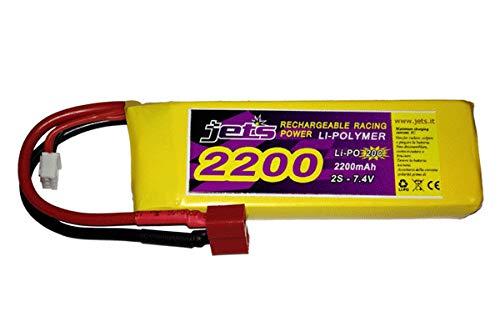 Jet's Jets 2S2200 Batteria LiPo 7,4V 2S 2200 mAh Li-Po 7,4 20C Attacco Dean WLTOYS x Motoscafo Drone Elicottero Auto Monster Buggy On Road HSP HIMOTO RADIOKONTROL AMAX SEBEN LOSI KYOSHO Mugen