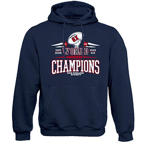 New England Six Times Champions Hoodie Sweatshirt(XL) Navy