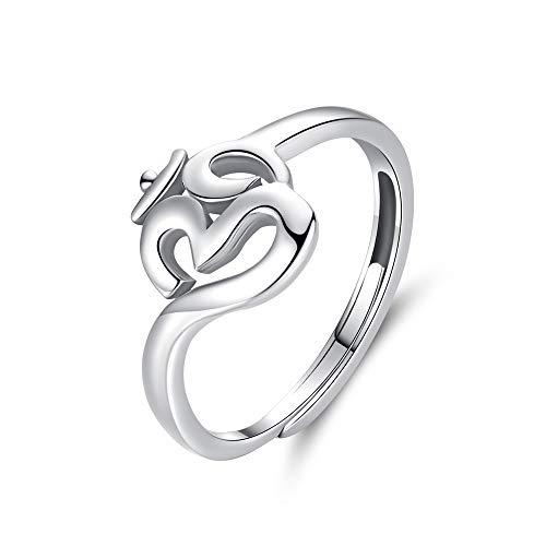Anillo de plata de ley 925 con símbolo de sánscrito para mujer, anillos ajustables para yoga, regalo religioso