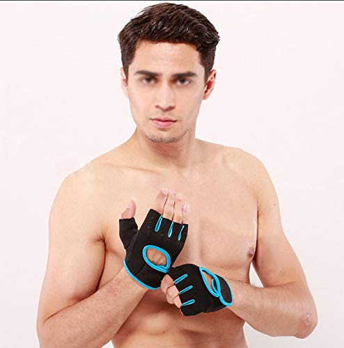 lumanuby 1Paar Damen Herren 's Gym Handschuhe, Half Finger Handschuhe semi-breathable Verschleißfest Rutschfest Fitness Handschuhe für Outdoor Ausreit Klettern atmungsaktives Sport Handschuhe Workout Training, Blue M, 18-21CM - 3