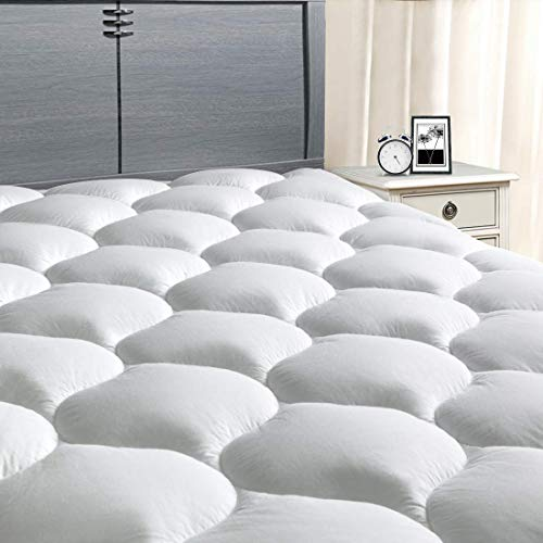 "MASVIS Queen Mattress Pad Cover 8-21""Deep Pocket - Pillow Top Quilted Mattress Topper Overfilled Snow Down Alternative"
