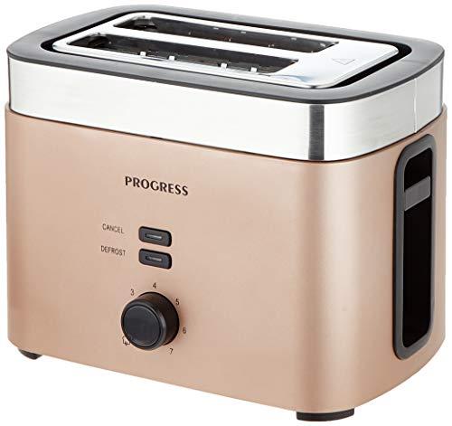 Progress EK3215CHAMPAGNEP-VDE Metallics Vega 2-Scheiben-Toaster mit Eurostecker, 930W, Champagner, 26,4 (L) x 17,6 (B) x 18,5 (H) cm