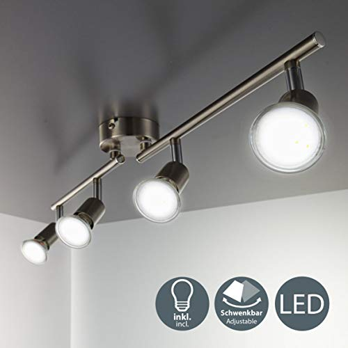 LED Deckenleuchte Schwenkbar Inkl. 4 x 3W Leuchtmittel GU10 IP20 LED Lampe Deckenlampe Spots Wohnzimmerlampe Deckenspot LED Deckenstrahler Warmweiss Metall Matt Nickel 4 x 250lm 4 Flammig drehbar