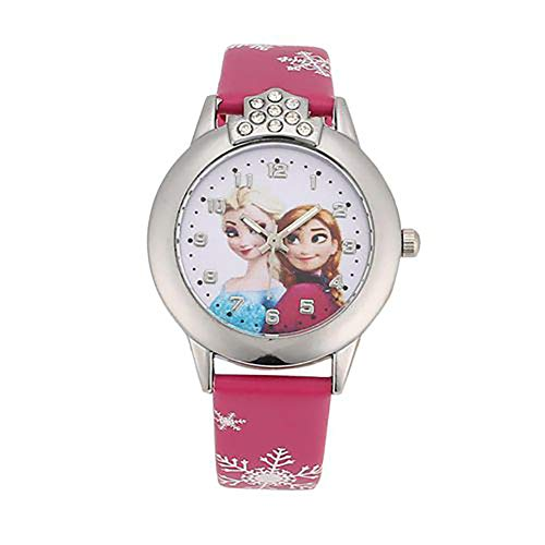 Orologio per bambini, motivo Frozen, con cinturino in pelle, ideale per bambine, al quarzo, casual