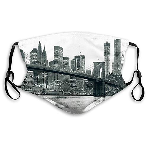 Windproof mask,Modern, Brooklyn Bridge Sunset with Manhattan American New York City Famous Town Image,Monochrome,Facial Decorations for Adult Size:M A1664