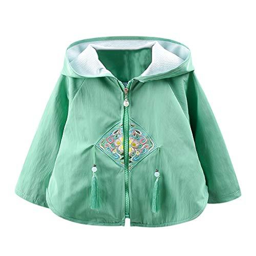 Livoral Kinder Winter MantelKleinkindbaby gestickte Blumenmantelquasten-mit Kapuze Jackenkleidung(Grün,70)