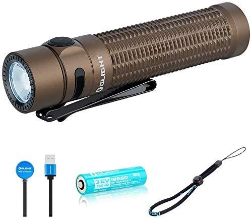 OLIGHT Warrior Mini Linterna Táctica Profesional, Linterna LED Portátil, Linterna Pequeña y Potente, Lámpara USB Recargable 1500 Lúmenes Lámpara Militar de 5 Modos, con Batería 18650,Desierto