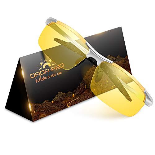 Nachtfahrbrille Auto Polarisiert Herren Damen Autofahren - HD Gelbe Anti Glanz Biker Nachtsichtbrillen Brille Gewidmet Nachtbrille(Silber)