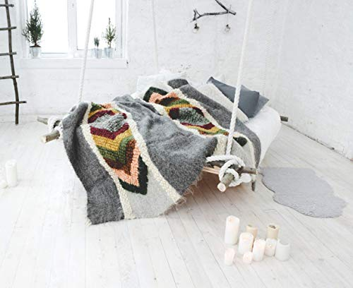 Moroccan Gray Wool Throw Blanket, Fuzzy plaid for living room, Boho sofa bedspread Thick weighted Cover Pattern Geometric Heavy Bed Coverlet, Handmade Kilim fluffy Hand Woven Aztec modern flokati