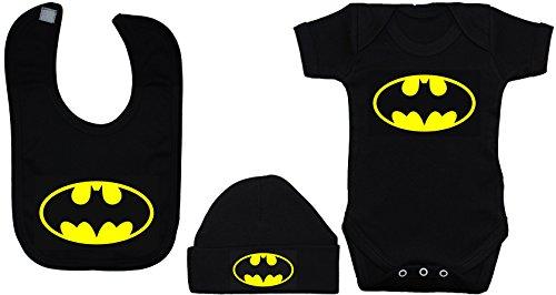 Batman Baby-Kleidungsset, Strampelanzug/Body/T-Shirt/Lätzchen und Mütze, Altersgruppe: 0-12 Monate, Schwarz