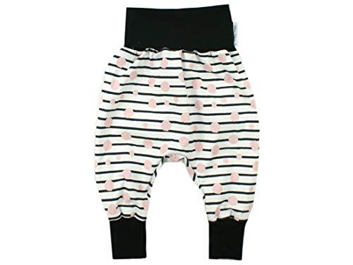 Kleine Könige Pumphose Baby Mädchen Hose · Modell Punkte Streifen Babydots rosa, schwarz · Ökotex 100 Zertifiziert · Größe 98/104