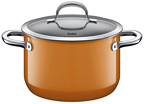 Silit Passion Orange Cook/Cocotte Haute, 20cm, Couvercle en Verre, 3,7l, Céramique Fonctionnelle Silargan, Pot à Induction, Orange