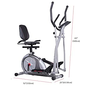 Body Rider 3-in-1 Trio-Trainer/Elliptical, Upright Stationary, and Recumbent Exercise Bike ALL IN ONE Space Saving Machine BRT3980