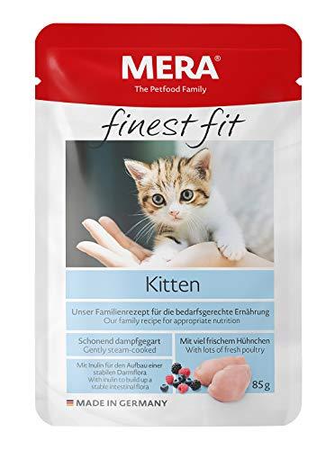 MERA finest fit Kitten Nassfutter – Katzennassfutter für junge Katzen mit viel frischem Hühnchen – Katzenfutter mit einer Rezeptur ohne Getreide – 12 x 85 g