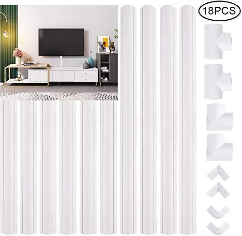 GOLDGE Kabelkanal Selbstklebend 400cm Weiße Kabelabdeckung für alle Netzkabel mit Kabelkanalaufsatz 10 x 40cm Länge