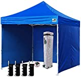 Eurmax 10'x10' Ez Pop-up Canopy Tent with 4 Removable Side Walls and Roller Bag, Bonus 4 SandBags, Royal Blue