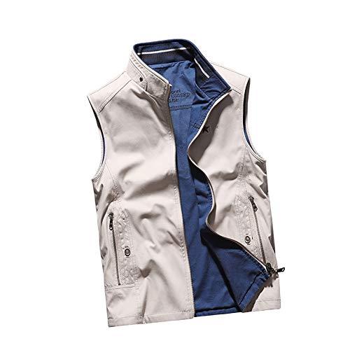 THBEIBEI Vest Mens Waistcoat Beide kanten kunnen dragen Outdoor Vissen Vest Ademende Gilets Draagbaar In Alle seizoenen Jas Voor Camping Fotografie Jacht