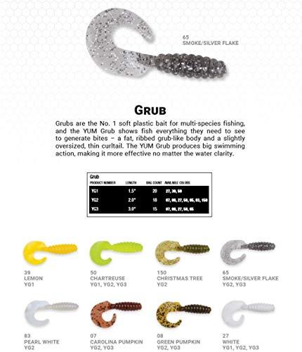"Yum Lures Grub Multi-Species Curly-Tail Swim-Bait Fishing Lure, White, 2"""