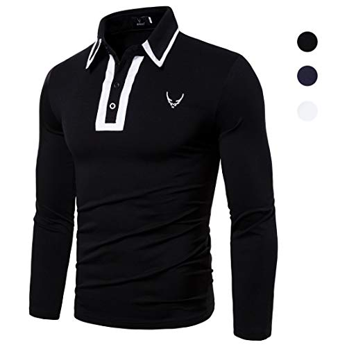 X&Armanis T-Shirt a Maniche Lunghe Autunnale per Uomo, Camicia con Risvolto in Misto Cotone a Contrasto Camicia Casual con Logo Ricamato (Nero/Bianco/Blu),1,L