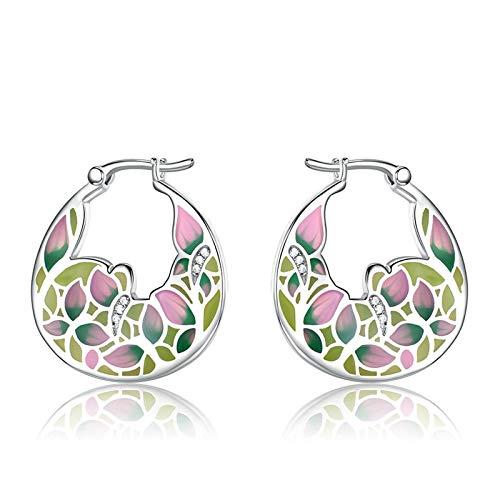 Daesar Stud Earrings 925 Sterling Silver Earrings for Girls Vintage Earrings for Women Leaf With White Cubic Zirconia Enamel Stud Earrings Pink Green