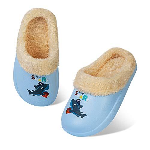 HMIYA Pantofola Invernali per Bambini Ragazzi Ragazze Zoccoli Calde Foderata Ciabatte Slipper da Ultraleggeri e Antiscivolo per Interni ed Esterni (Grigio Squalo,28/29)