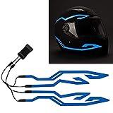 4PCS Upgrade Rechargeable Motorcycle Helmet Light, Night Riding Signal Helmet EL Light, 3 Mode Led Helmet Light Strip Accessories Kit for...